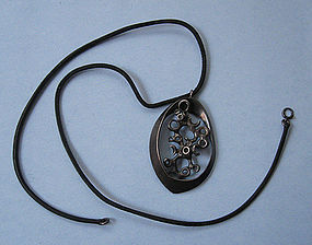 Sterling Abstract Pendant on Leather Cord