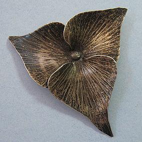 Nye Sterling Trillium Pin, c. 1960