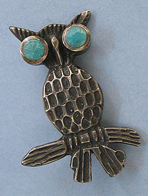 Sterling and Enamel Owl Pin, c. 1970