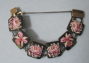 Japanese Porcelain and Silver Bracelet, c. 1950