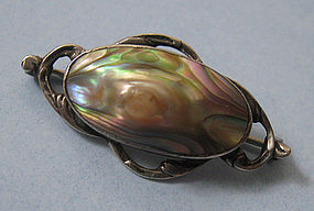 Sterling and Blister Pearl Pin, c. 1900