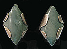 Reinhardt Sterling and Chalcedony Earrings, c. 1950