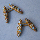 American Gold Enameled Cuff Links, c. 1890
