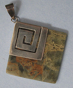 Handmade Agate and Sterling Pendant, c. 1970