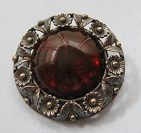 Danish Sterling and Amber Pin, N.E. From, c. 1960