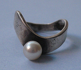 �Phyllis� Sterling and Pearl Ring, c. 1970
