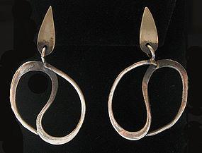 Handmade Sterling Modernist Earrings, c. 1960