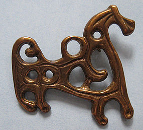 Bronze Pin of Stylized Horse, Finland, c. 1975