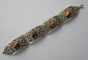 Sterling and Tiger�s Eye Bracelet, c. 1945