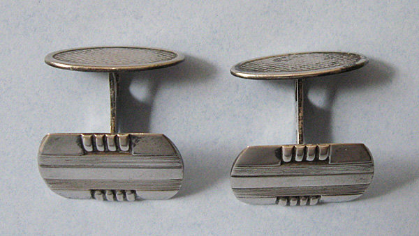 French Silver Cuff Links, c. 1955