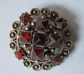European Silver and Garnet Brooch, c. 1890