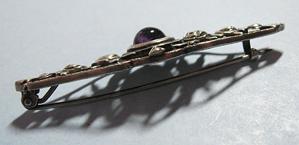 Sterling and Amethyst Bar Pin, c. 1960