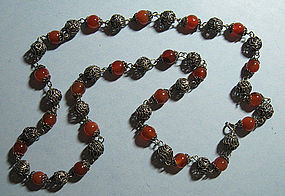 Chinese Carnelian Bead Necklace, c. 1970