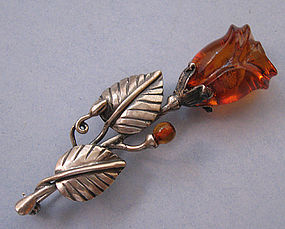 Amber and Sterling Blossom Pin, c. 1960