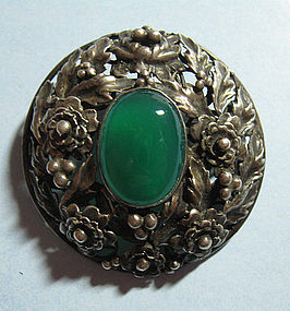 Sterling and Chrysoprase Pin