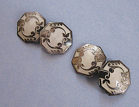 Art Deco Enameled Cuff Links, c. 1925