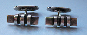Danish Modernist Silver Cuff Links