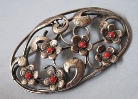 Silver and Faux Coral Floral Pin
