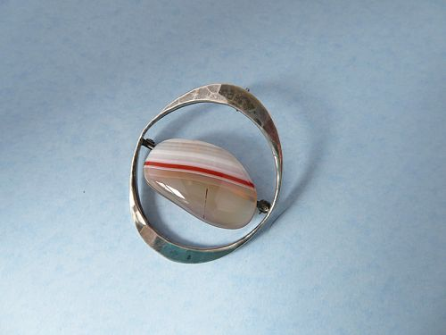 Tone Vigeland Sterling and Agate Pin/Pendant