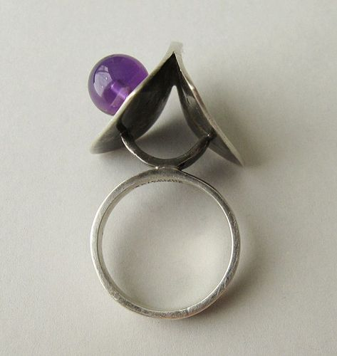 Poul Warmind Sterling and Amethyst Ring