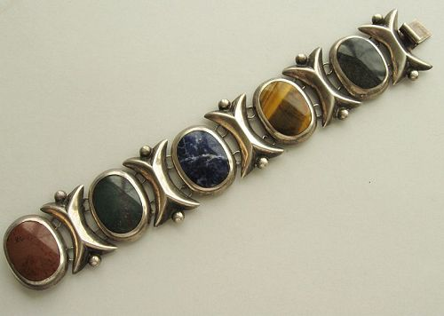 Mexican Agate and Sterling Bracelet