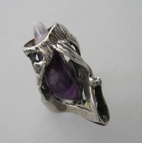 Sterling Abstract Ring with Amethyst