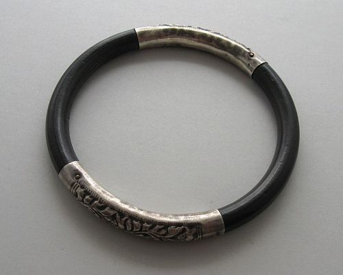 Chinese Silver and Wood Bangle