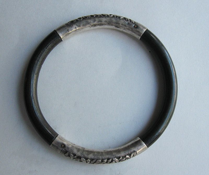 Chinese Silver and Black Coral Bangle