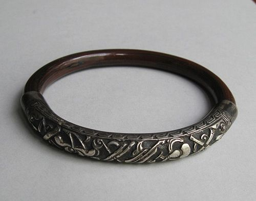 Chinese Bangle, Silver and Lacquered Bamboo