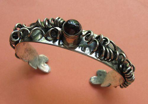 Handmade Silver and Garnet Cuff Bracelet