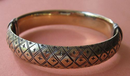 Engraved, Gilded Sterling Hinged Bangle