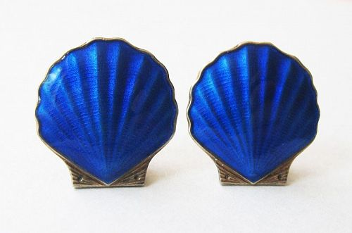 Norwegian Enamel Scallop Shell Earrings, Elvik