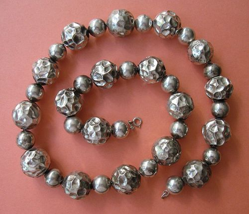 Sterling Bead Necklace, Hammered Texture