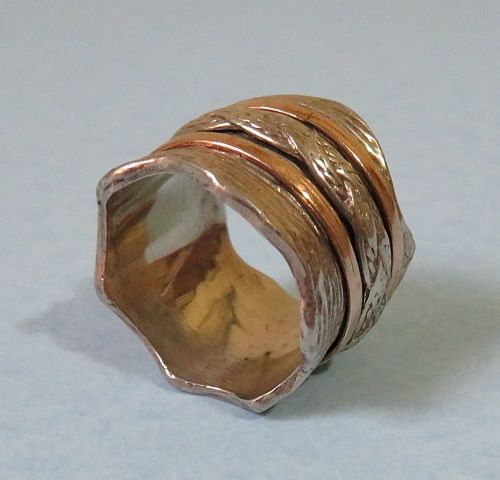 Wide Sterling and Gold Band Ring