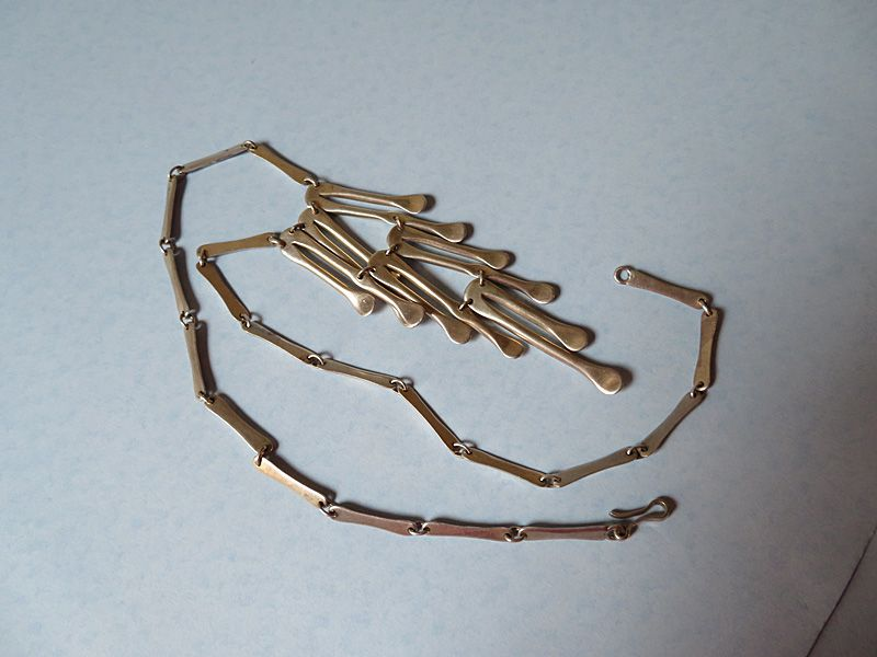 Sterling Chain Necklace with Tiered Pendant
