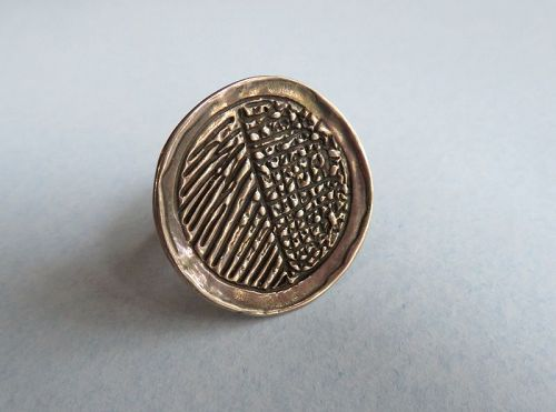 Sterling Disk Ring, Textured Pattern