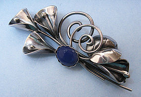 Sterling and Agate Calla Lily Brooch