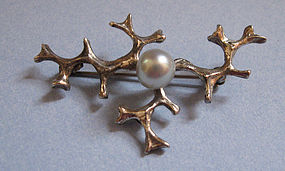 Sterling Modernist Pearl Pin, c. 1960