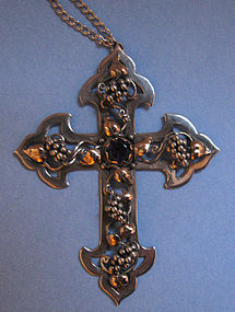 Sterling, Gold, Amethyst Cross and Chain