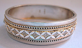 Victorian Sterling Hinged Bangle, 1884