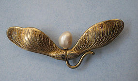 American Silver Gilt and Pearl Maple Seed Pin