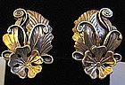 Sterling Silver Flower and Leaf Earrings, c. 1940