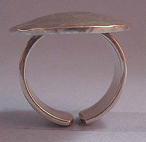 Sterling Hammered Disc Ring
