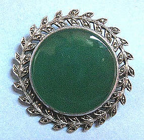 Sterling Marcasite and Chrysoprase Pin