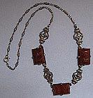 Art Deco Marcasite Carved Carnelian Necklace
