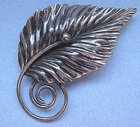 Sterling Silver Leaf Pin, c. 1960