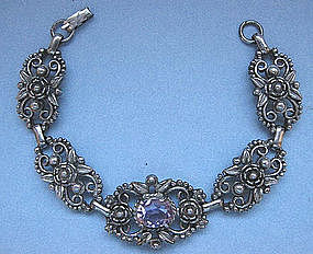 European Silver and Amethyst Bracelet
