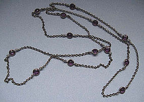 Faux Amethyst and Metal Chain, c. 1910