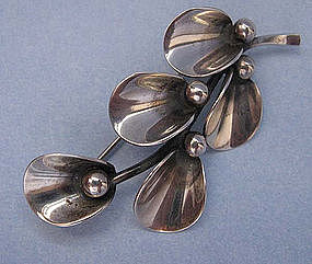 Sterling Leaf and Berry Pin by N.E. From