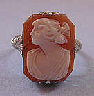 Shell Cameo and White Gold Ring, c. 1935